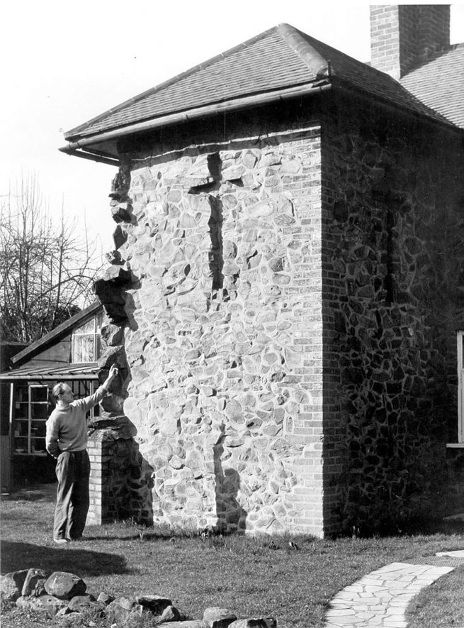 The Cottage, Brook Lane, Weddington. The crosses are approximately 5 feet high and 30 inches wide. The facing wall points due south. The cottage is said to have been two gardeners cottages on the Weddington Castle estate.  1950s |  IMAGE LOCATION: (Warwickshire County Record Office)