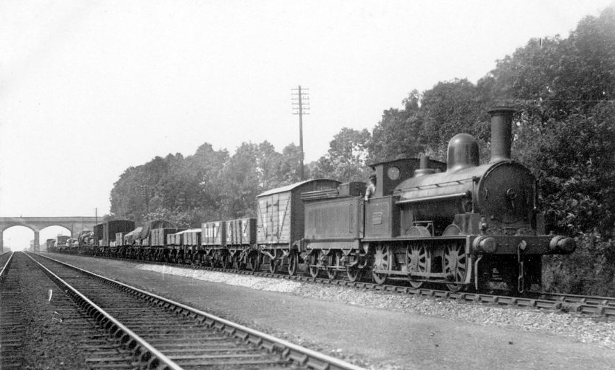 L.N.W.R. 0-6-0 goods (coal) train passing through Shilton.  August 1922 |  IMAGE LOCATION: (Warwickshire County Record Office)