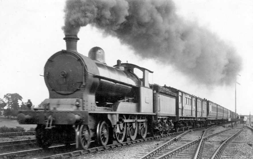 The L.N.W.R down express train passing through Shilton.  July 1921 |  IMAGE LOCATION: (Warwickshire County Record Office)