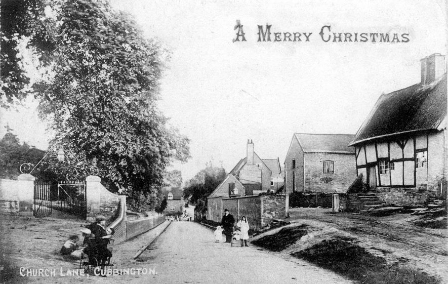 A view of Church Lane, Cubbington, produced as a Christmas postcard.  1900s |  IMAGE LOCATION: (Warwickshire County Record Office)