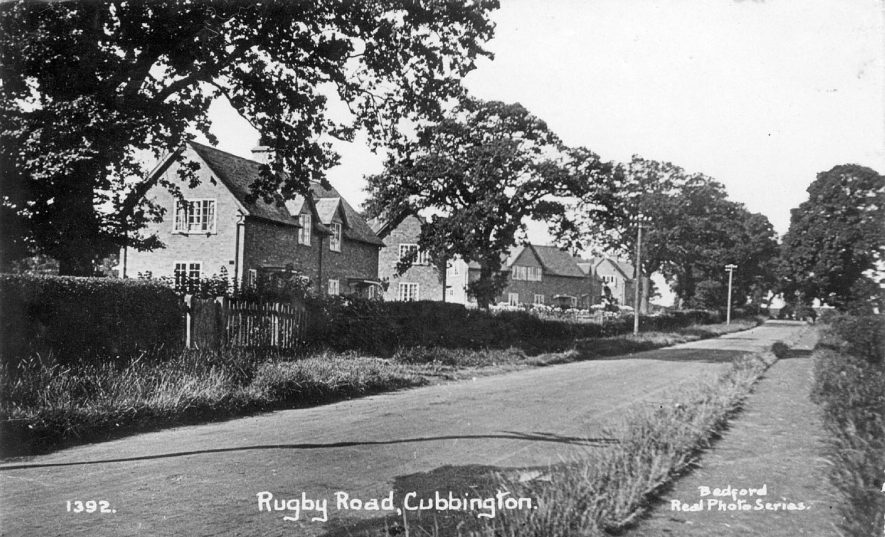 Rugby Road, Cubbington, with row of semi-detached houses on the left.  1960s |  IMAGE LOCATION: (Warwickshire County Record Office)