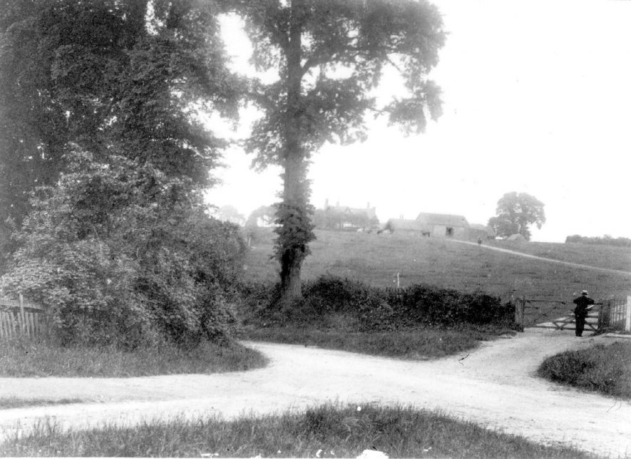 The entrance to Hill Farm, Cubbington, with the farmhouse and outbuildings in the distance.  1920s