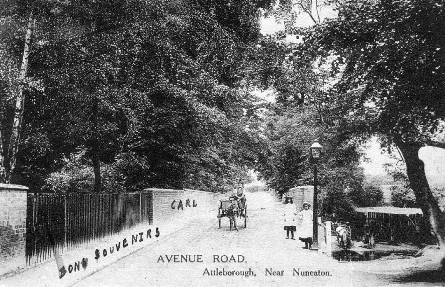 Attleborough, Avenue Road, showing a bridge over a stream, a ford with a donkey and cart, a horse being watered and two little girls.  1900s |  IMAGE LOCATION: (Warwickshire County Record Office)
