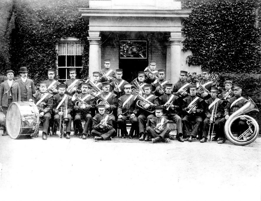 The original brass band at Cubbington in the 1900s. For more detailed information refer to - Cubbington by G.F.Peppitt. |  IMAGE LOCATION: (Warwickshire County Record Office)