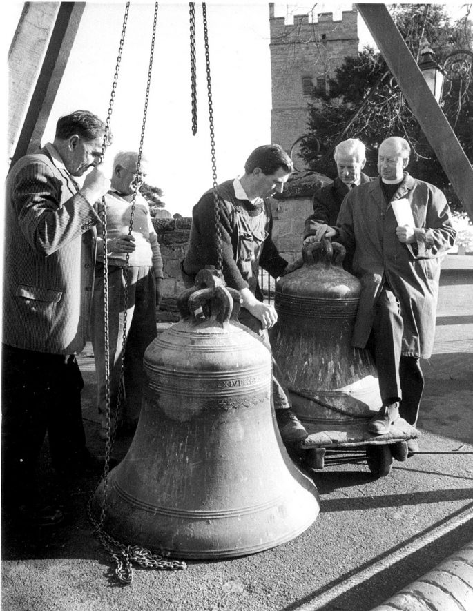 Cubbington church bells being removed.  1969