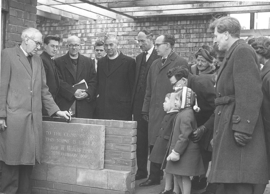 Laying of foundation stone of Cubbington Methodist Church Hall.  February 20th 1965