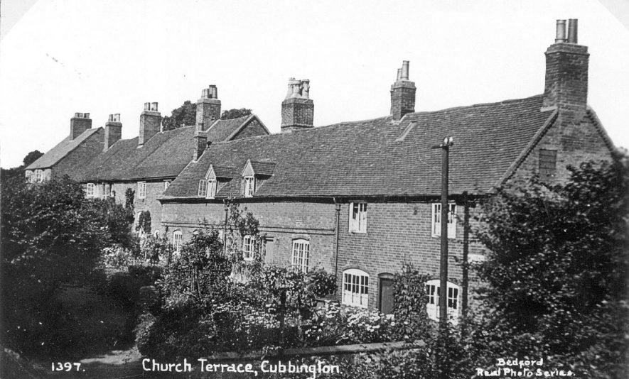 Malthouse Row (now Church Terrace), Cubbington. The Malthouse with dormer Windows was standing in 1768.