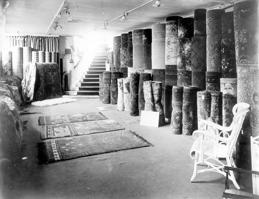 The carpet department at E. Francis & Sons Ltd. Bath Street, Leamington Spa.  1920s |  IMAGE LOCATION: (Warwickshire Museums. Photographic Collections.)