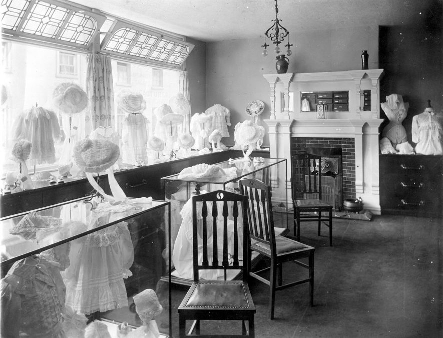 Corner of children's and underwear department at E. Francis & Sons Ltd. Bath Street, Leamington Spa.  1920s |  IMAGE LOCATION: (Warwickshire Museums. Photographic Collections.)