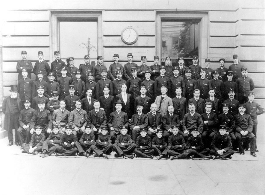 The G.P.O. staff photographed outside Leamington Spa General Post Office.  early 1900s |  IMAGE LOCATION: (Warwickshire Museums. Photographic Collections.)