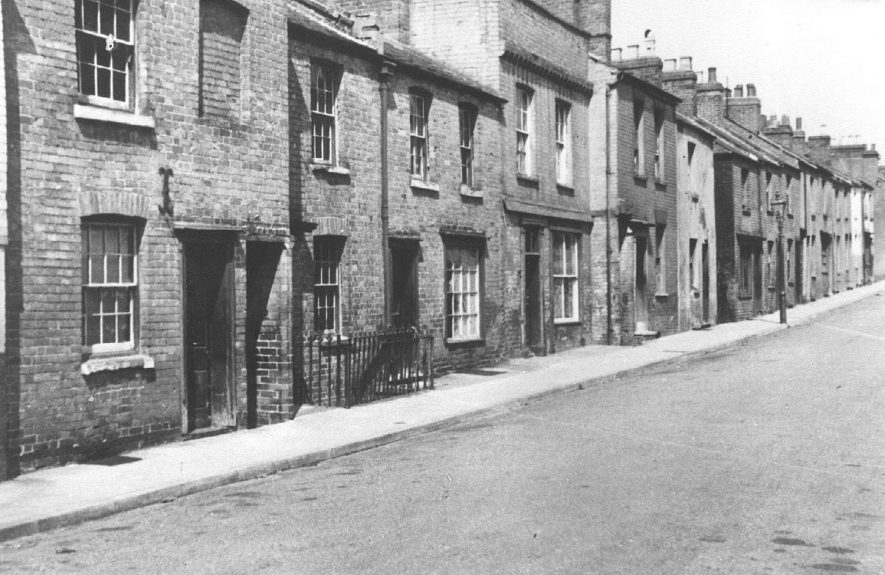 Housing in Brook Street, now named New Brook Street, Leamington Spa.  1955 |  IMAGE LOCATION: (Warwickshire Museums. Photographic Collections.)