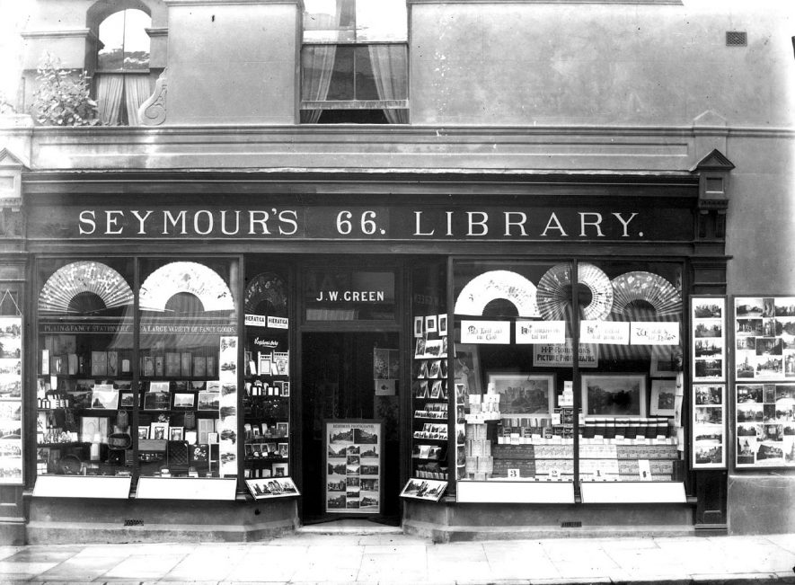 Seymour's Library in Regent Street, Leamington Spa.  Shop front, showing goods in window.  20th Century |  IMAGE LOCATION: (Warwickshire Museums. Photographic Collections.)
