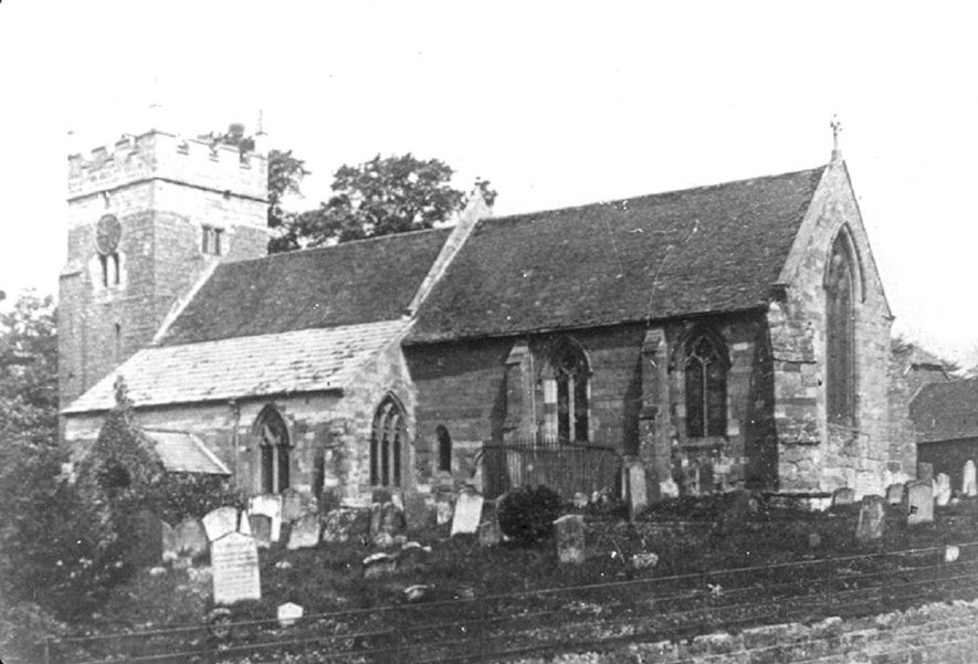 Cubbington church exterior prior to restoration in 1885. |  IMAGE LOCATION: (Warwickshire County Record Office)