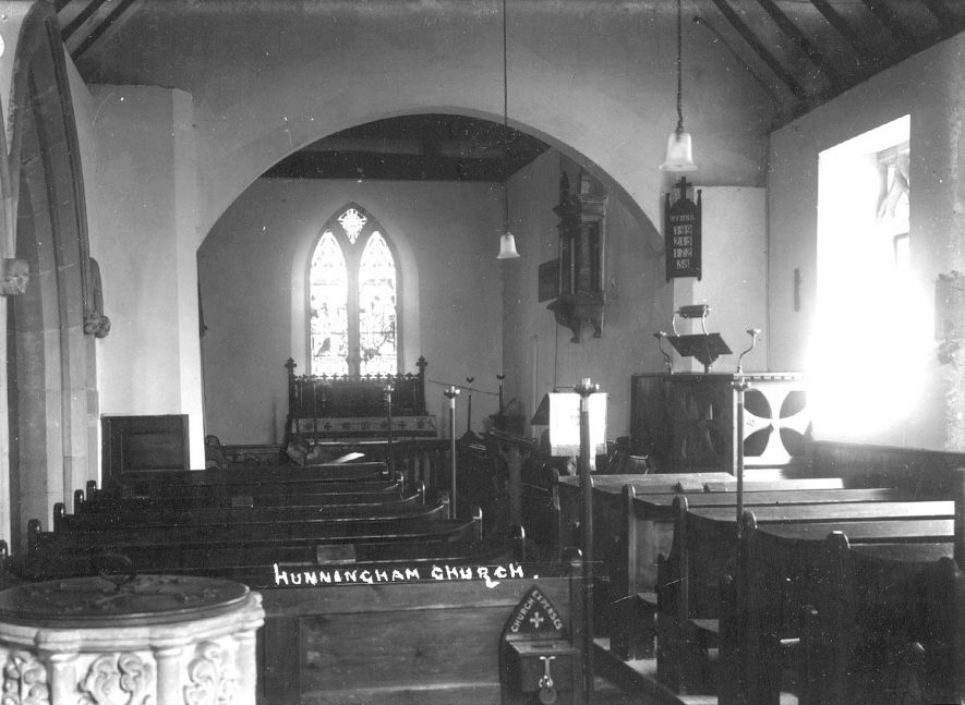 Interior of Hunningham church.  1920s |  IMAGE LOCATION: (Warwickshire County Record Office)