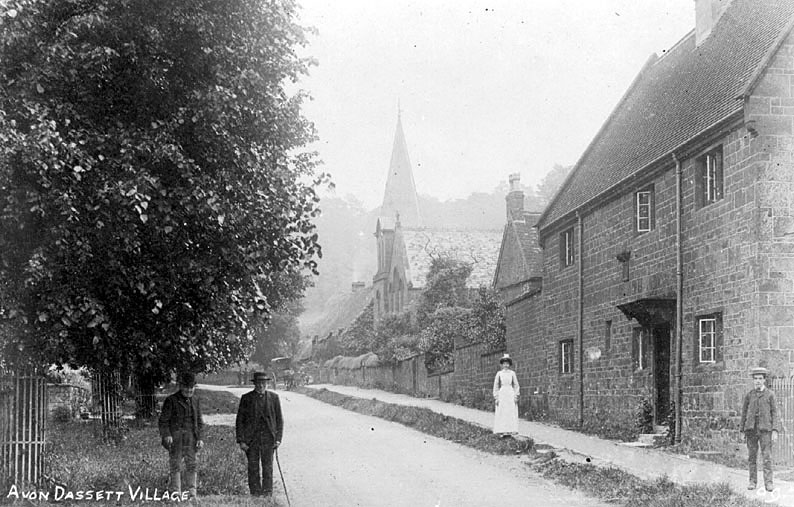 Village street with church, cottages and people, Avon Dassett.  1910s |  IMAGE LOCATION: (Warwickshire County Record Office)