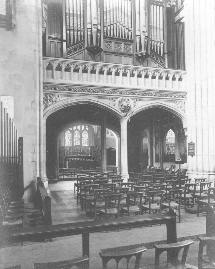 Interior view of All Saint's Church, Leamington Spa.  1940s |  IMAGE LOCATION: (Warwickshire County Record Office)