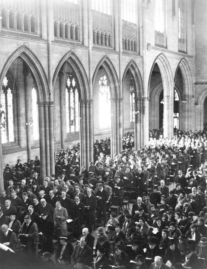 The memorial service for King George V in All Saint's Church, Leamington Spa.  1930s |  IMAGE LOCATION: (Warwickshire County Record Office)