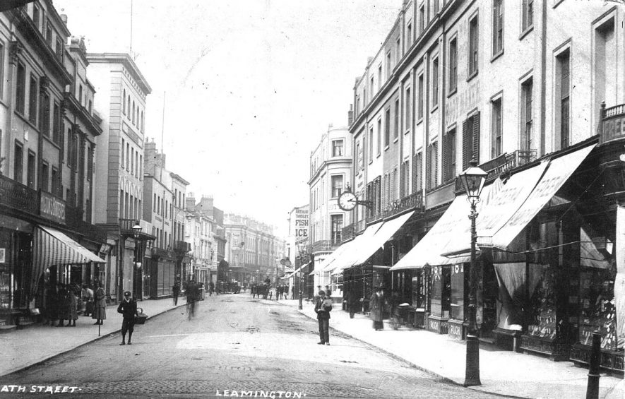 View of shops and people in Bath Street, Leamington Spa.  1900s |  IMAGE LOCATION: (Warwickshire County Record Office)