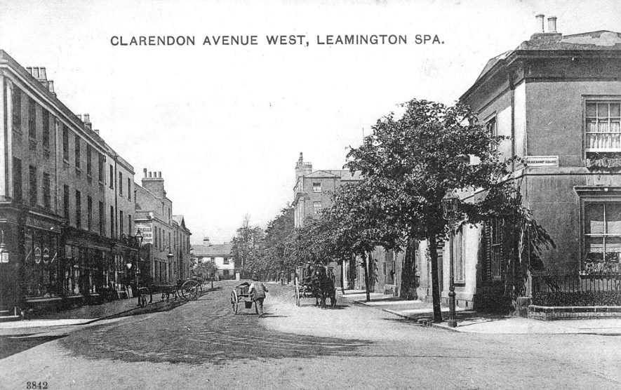 Clarendon Avenue West, Leamington Spa.  Terraced housing,  horses and carts.  Man pushing handcart.  1900s |  IMAGE LOCATION: (Warwickshire County Record Office)