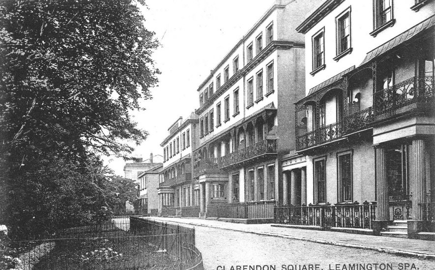 Clarendon Square, Leamington Spa.  Large houses and part of  railed gardens.  1910s |  IMAGE LOCATION: (Warwickshire County Record Office)
