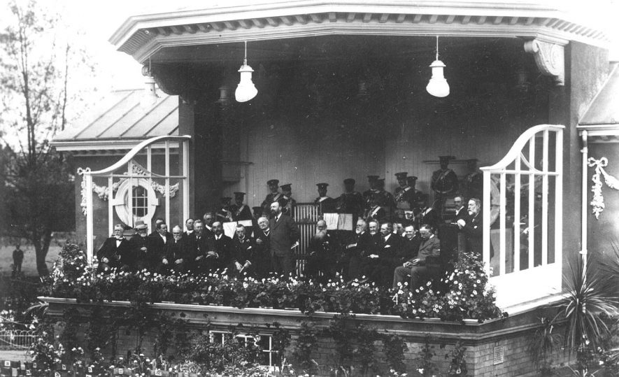 The opening of the new bandstand in Jephson Gardens, Leamington Spa.  May 27th 1909    IMAGE LOCATION: (Warwickshire County Record Office)