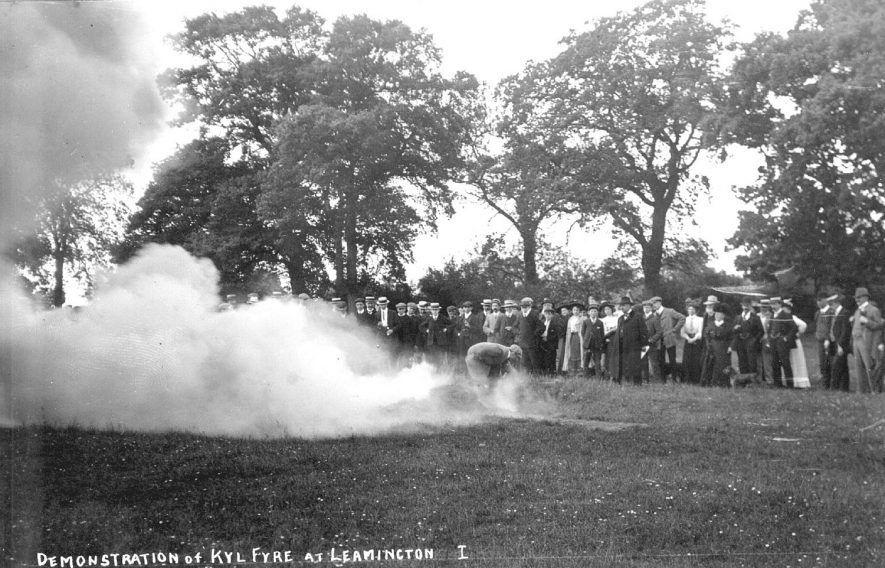 Demonstration of Kyl Fyre in Jephson Gardens, Leamington Spa.  1910s |  IMAGE LOCATION: (Warwickshire County Record Office)