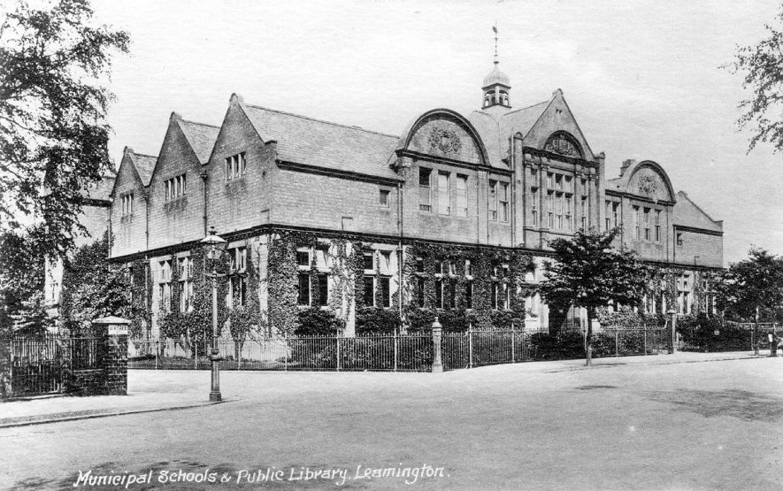 Exterior of municipal schools and public library, Leamington Spa.  c. 1910 |  IMAGE LOCATION: (Warwickshire County Record Office) IMAGE DATE: (c.1910)