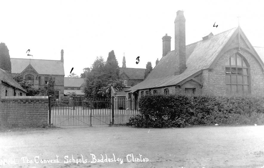 The Convent School, Baddesley Clinton. School buildings and playground.  1910s |  IMAGE LOCATION: (Warwickshire County Record Office)