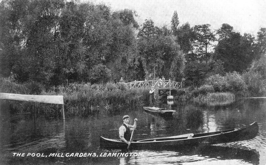 Man in a canoe on The Pool, Mill Gardens, Leamington Spa.  Easter Saturday 1917 |  IMAGE LOCATION: (Warwickshire County Record Office)