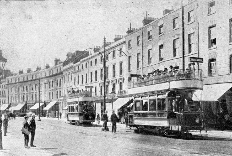 Two new electric trams in The Parade, Leamington Spa.  1905 (when the trams were electrified). |  IMAGE LOCATION: (Warwickshire County Record Office)