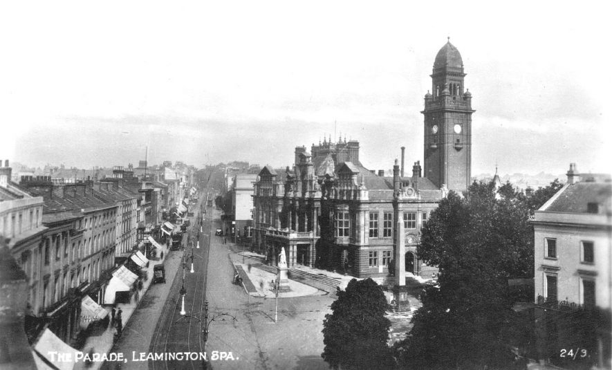 View looking up The Parade, Leamington Spa with the town hall and clock tower in the centre.  1920s |  IMAGE LOCATION: (Warwickshire County Record Office)