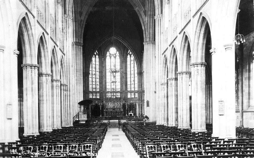 Interior of All Saints Church, Leamington Spa, looking east.  1910s    IMAGE LOCATION: (Warwickshire County Record Office)
