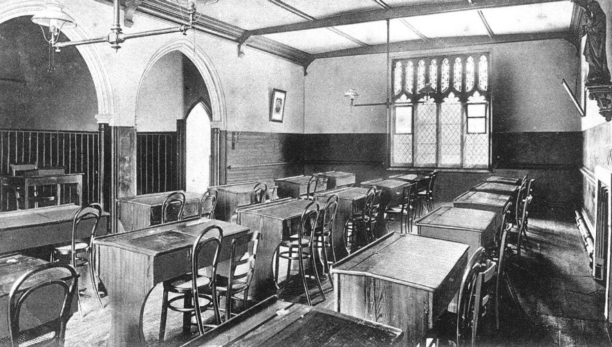 The study in the Convent of the Sacred Heart, Binswood Ave, Leamington Spa.  1910 |  IMAGE LOCATION: (Warwickshire County Record Office)
