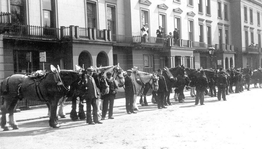 Corporation Cart Horse parade in Hamilton Terrace, Leamington Spa.  1907 |  IMAGE LOCATION: (Warwickshire County Record Office)
