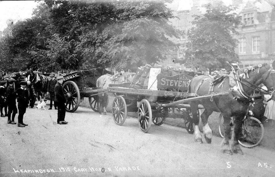 Corporation Cart Horse Parade, Hamilton Terrace, Leamington Spa.  1910 |  IMAGE LOCATION: (Warwickshire County Record Office)
