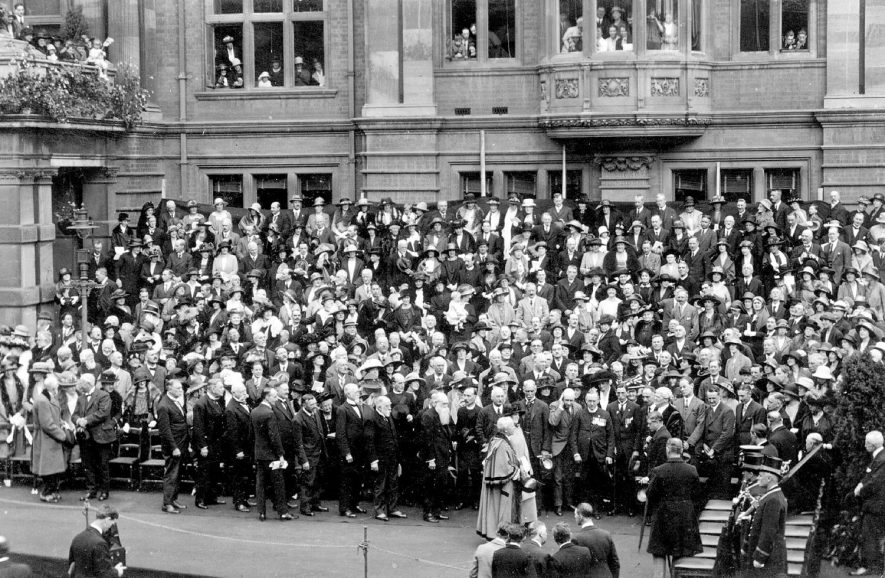 Outside the Town hall probably at the time of the visit of the Prince of Wales, Leamington Spa.  1923 |  IMAGE LOCATION: (Warwickshire County Record Office)