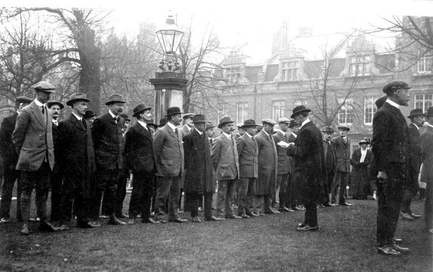Roll call of Volunteer Training Corps in Regent Grove, Leamington Spa.  1914 |  IMAGE LOCATION: (Warwickshire County Record Office)