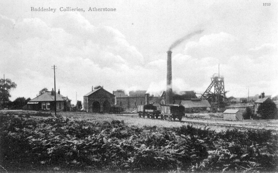 Baddesley Colliery.  View of colliery buildings with chimney and railway.  1900s |  IMAGE LOCATION: (Warwickshire County Record Office)