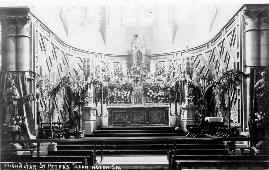 The high altar at St Peter's Church, Leamington Spa.  1900s |  IMAGE LOCATION: (Warwickshire County Record Office)