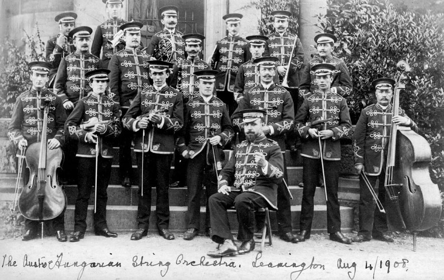 The Austro-Hungarian string orchestra in Leamington Spa.  1908 |  IMAGE LOCATION: (Warwickshire County Record Office)