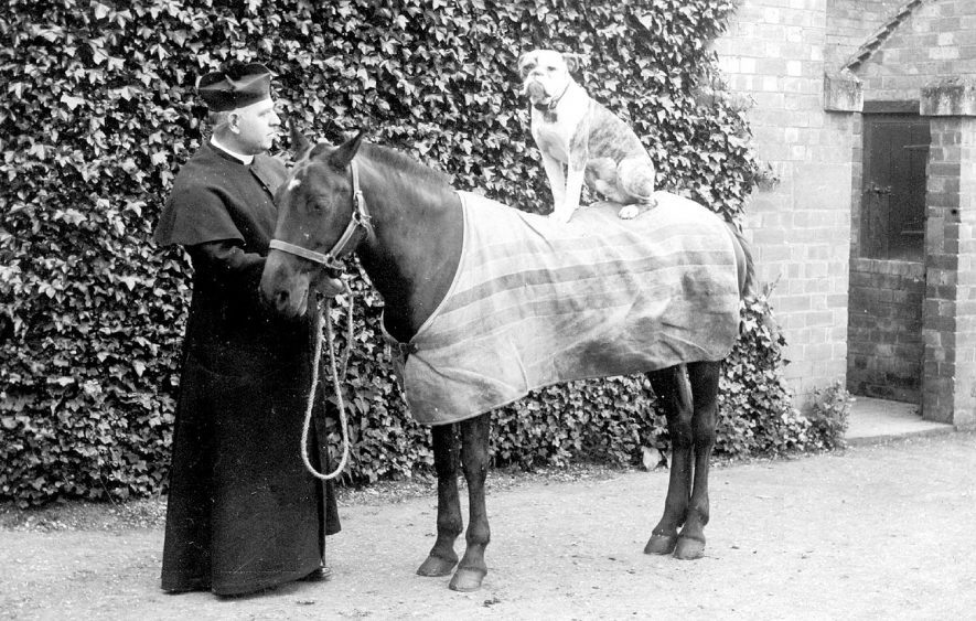 Roman Catholic priest with his pony and boxer dog, possibly outside the presbytery at St Peter's Church, Leamington Spa.  1900s |  IMAGE LOCATION: (Warwickshire County Record Office)