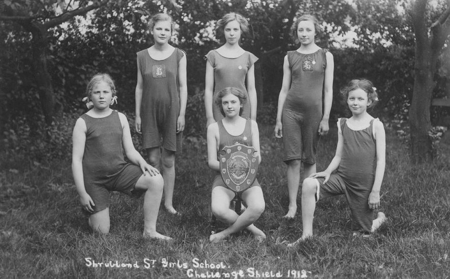 Shrubland Street Girls School, winners of Challenge Shield (for swimming), Leamington Spa.  1912 |  IMAGE LOCATION: (Warwickshire County Record Office)