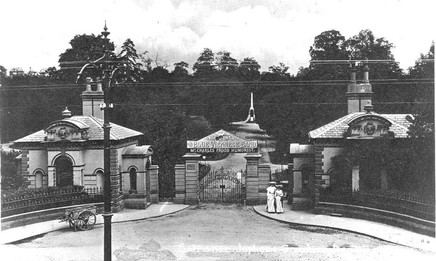 Gateway and lodges to Jephson Gardens, Lower Parade, Leamington Spa.  1900s |  IMAGE LOCATION: (Warwickshire County Record Office)