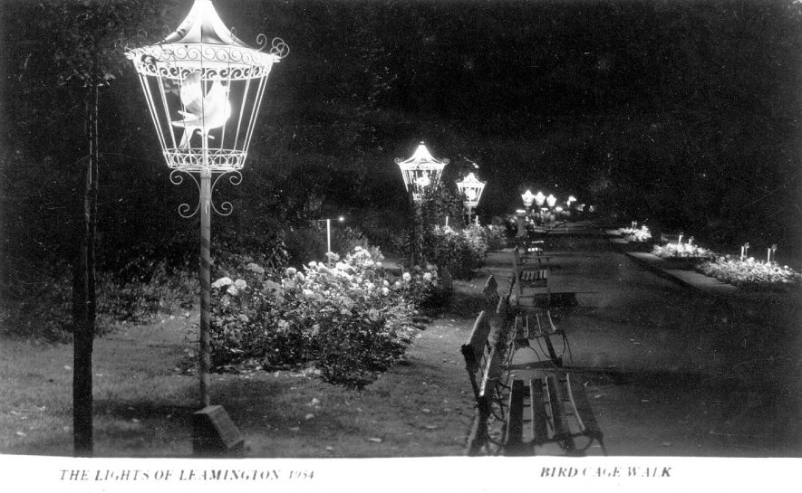 Lights in Birdcage Walk,  Jephson Gardens, Leamington Spa.  1954 |  IMAGE LOCATION: (Warwickshire County Record Office)
