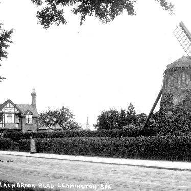 Leamington Spa.  Tachbrook Road, windmill and Windmill Inn