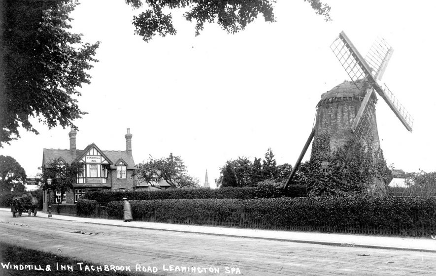 View of Windmill and Public house named Windmill Inn on Tachbrook Road, Leamington Spa.  1900s |  IMAGE LOCATION: (Warwickshire County Record Office)