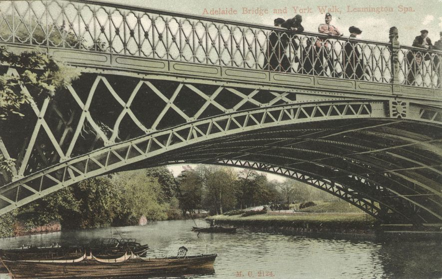 The river Leam, Adelaide Bridge and York Walk, Leamington Spa.  1907 |  IMAGE LOCATION: (Warwickshire County Record Office)