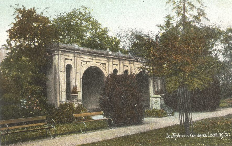 One of the architectural features in the Jephson Gardens.  1900s |  IMAGE LOCATION: (Warwickshire County Record Office)