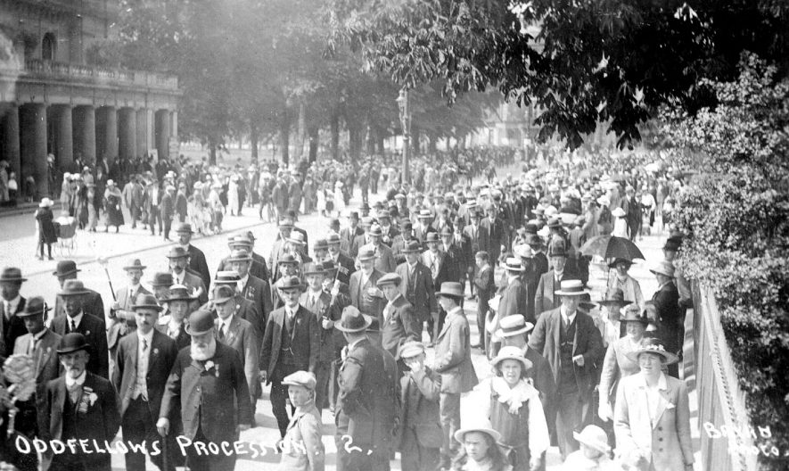 Procession of Oddfellows passing the Pump Rooms, Leamington Spa.  1910 |  IMAGE LOCATION: (Warwickshire County Record Office)