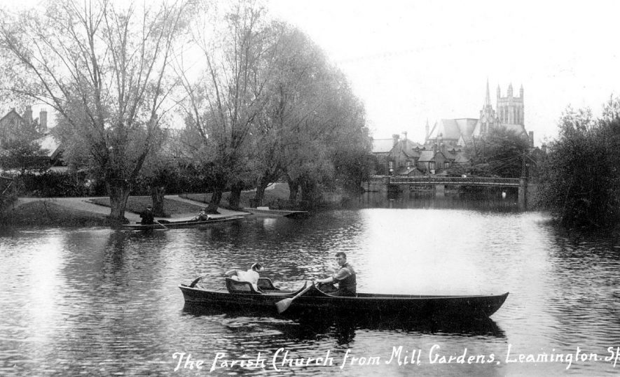 View of All Saints church from the lake in Mill gardens, Leamington Spa.  1910s |  IMAGE LOCATION: (Warwickshire County Record Office)